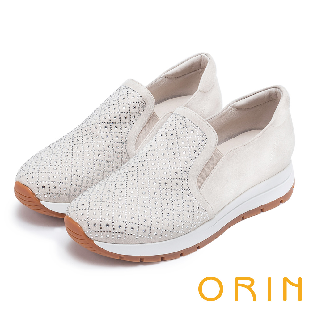 ORIN 時尚渡假風 鞋面規則燙鑽平底休閒鞋-白色