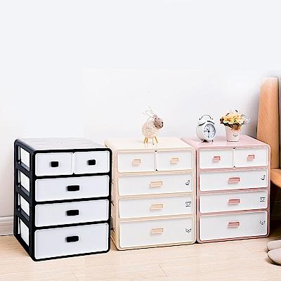 Mr.box-日式4層抽屜式內衣小物收納整理盒收納箱兩色可選