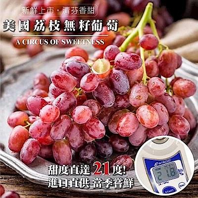 【天天果園】美國空運無籽荔枝葡萄4盒(每盒約500g)