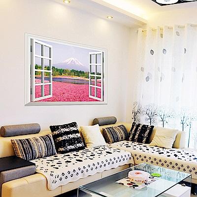 半島良品 DIY無痕壁貼-假窗粉色花海 AY9234A 60x90cm