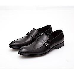 ALLEGREZZA-真皮男鞋-品味流露-鞋面飾釦復古皮紋便鞋  黑