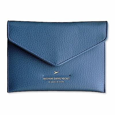 PLEPIC 啟程吧皮革護照包-海軍藍