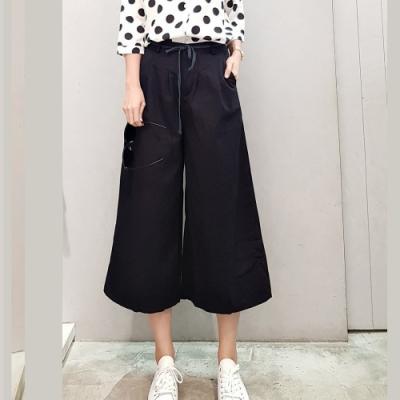 白鵝buyer 挺版綁帶休閒韓系寬褲-黑