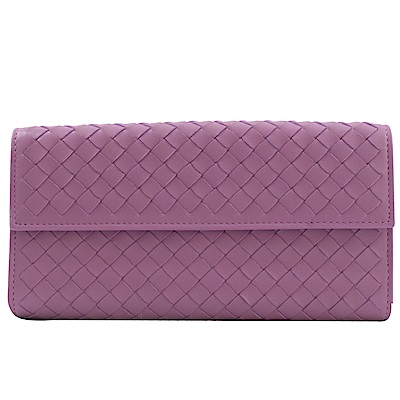 BOTTEGA VENETA經典編織扣式長夾(粉紫)