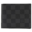 LV N60053 Amerigo 黑灰棋盤格對開零錢多卡短夾