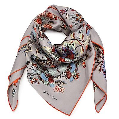 HERMES 蝴蝶與花 真絲披肩方型絲巾-灰色