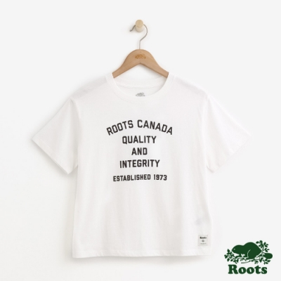 ROOTS女裝  文字寬版短袖T恤 白
