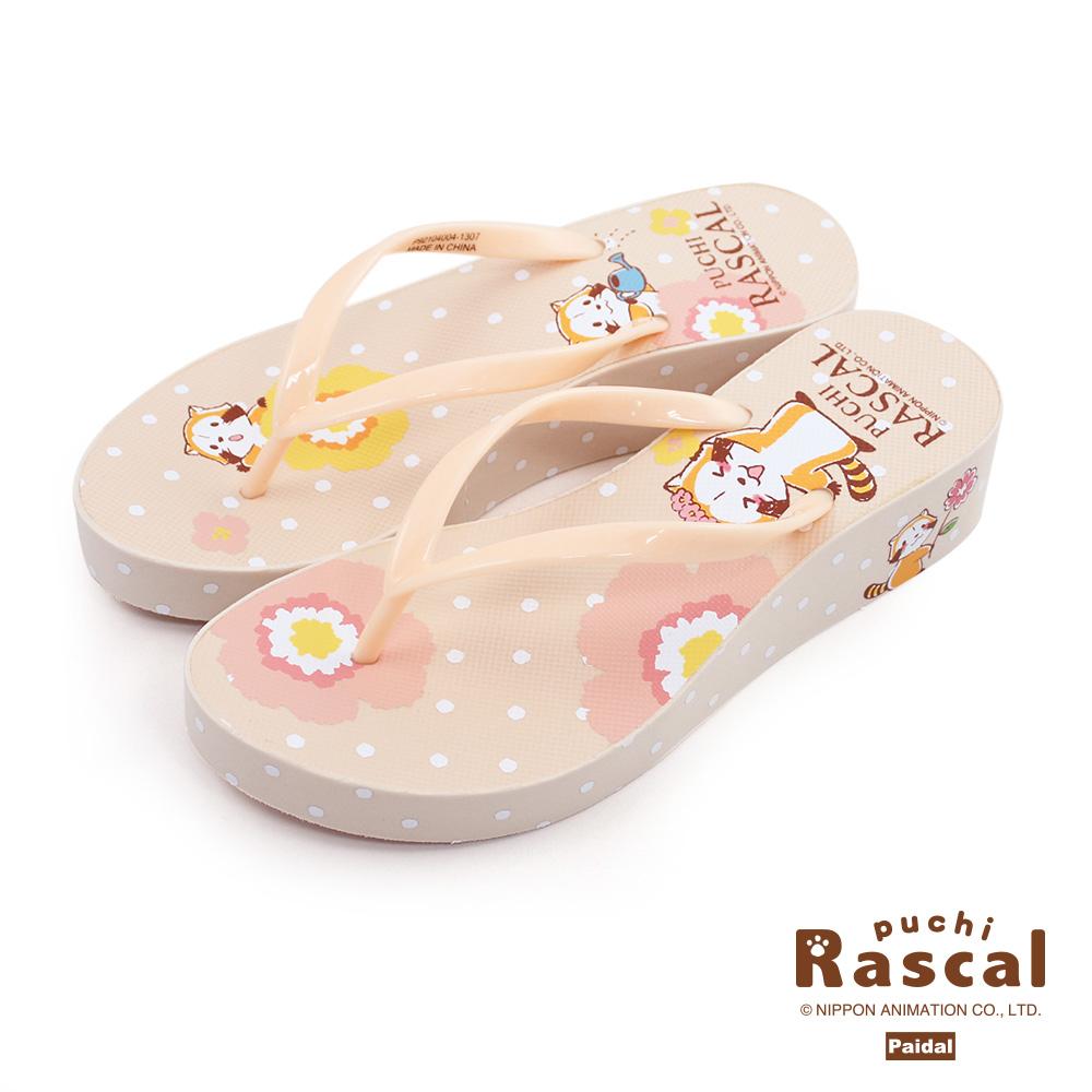 Paidal x Rascal小小浣熊花朵夾腳厚底拖鞋