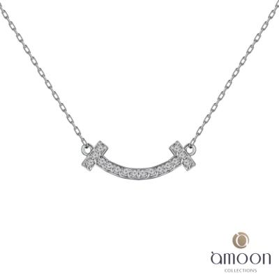 amoon 戀戀東京系列 喜悅 18K金鑽石項鍊-白K金