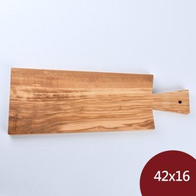Arte in olivo 義大利 橄欖木 附把手盛菜盤 42x16cm 義大利製