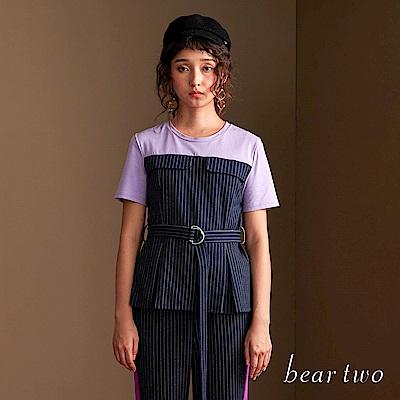 beartwo 時尚直紋拼接收腰針織上衣(二色)