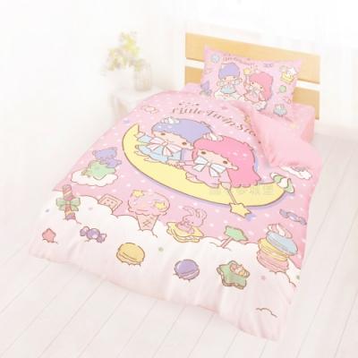 享夢城堡 單人床包雙人涼被三件組-雙星仙子Little Twin Stars 月光童話-粉