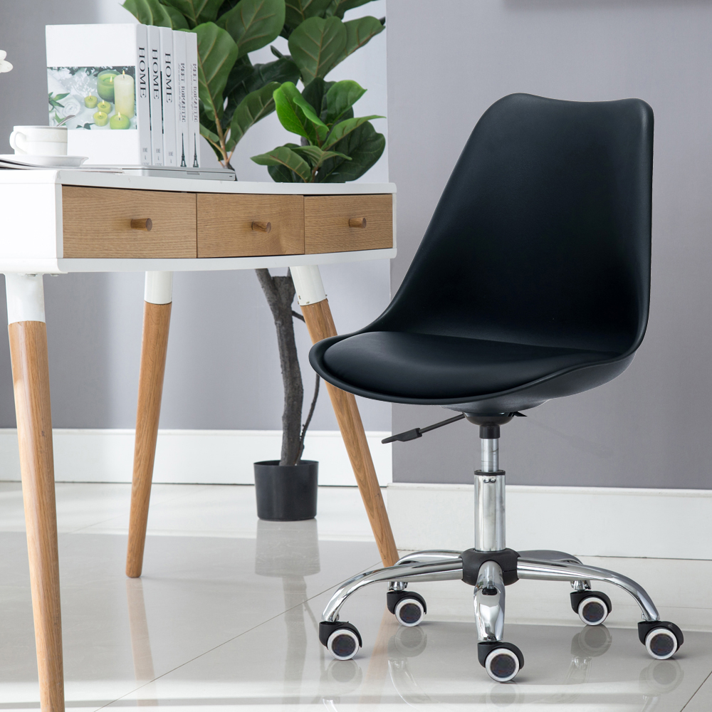 E-home EMSM北歐經典造型軟墊電腦椅 黑色