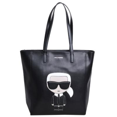 Karl Lagerfeld 經典老佛爺品牌圖騰LOGO皮革手提購物包(黑)