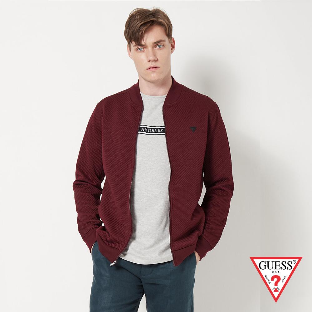 GUESS-男裝-素色壓紋休閒外套-酒紅 原價3090