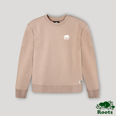 Roots女裝- 經典海狸LOGO男友版型圓領上衣-粉橘色