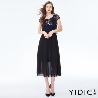 YIDIE衣蝶 亮色玫瑰刺繡網紗罩衫假兩件長洋裝
