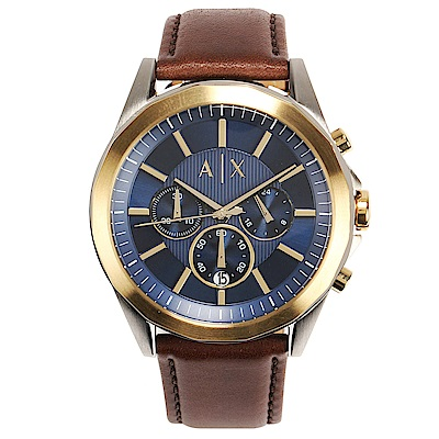 A/X Armani Exchange 三眼計時奢華皮帶男腕錶-(AX2612)-45mm