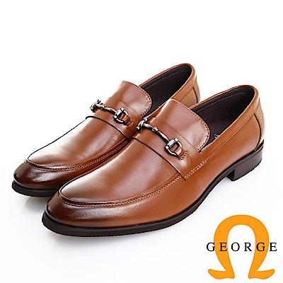 GEORGE 喬治皮鞋 經典系列 漸層刷色馬蹄釦紳士樂福鞋 -咖