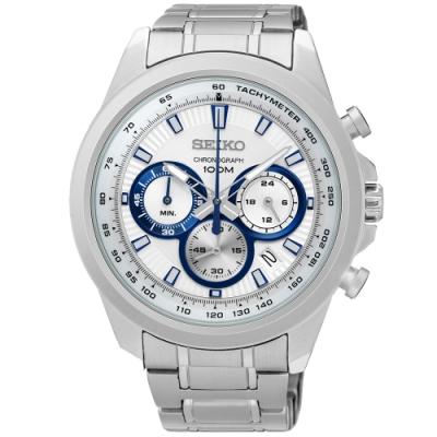 SEIKO精工   極地追光者三眼石英腕錶(SSB239P1)-白面x45mm