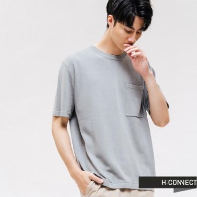 H:CONNECT 韓國品牌 男裝 -圓領口袋針織上衣-藍