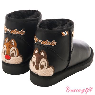 Disney collection by grace gift立體毛呢織帶雪靴 皮黑
