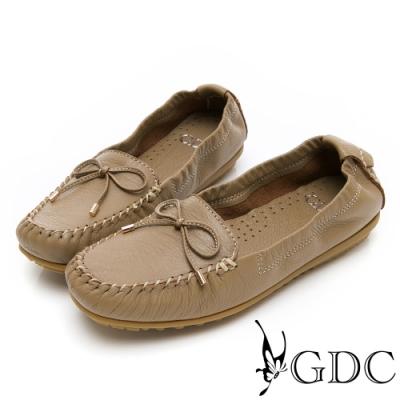 GDC-真皮舒適素色基本蝴蝶結綁帶休閒鞋-可可色