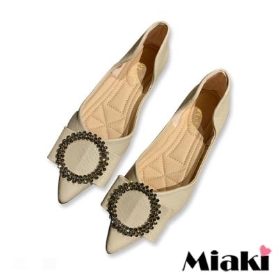 Miaki-娃娃鞋小香水鑽平底尖頭鞋-米