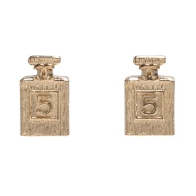 CHANEL 香奈兒經典CC LOGO NO.5香水瓶造型穿式耳環(金)