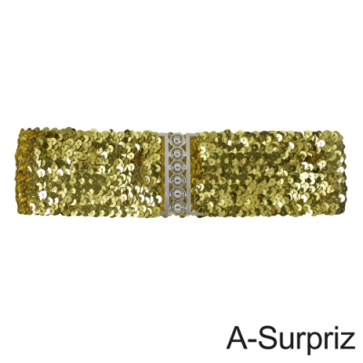 A-Surpriz 亮片金屬釦環彈性腰帶(金)