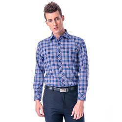 金‧安德森 棕藍白格紋長袖襯衫