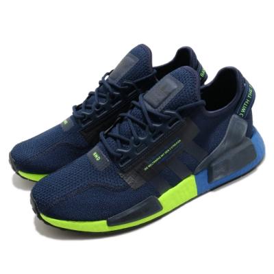 adidas 休閒鞋 NMD R1 V2 襪套式 男鞋 愛迪達 三葉草 Boost 緩震 流行款 藍 灰 FX3948