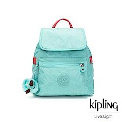 Kipling 糖果色調薄荷綠撞色翻蓋束口後背包-NEW ELLA