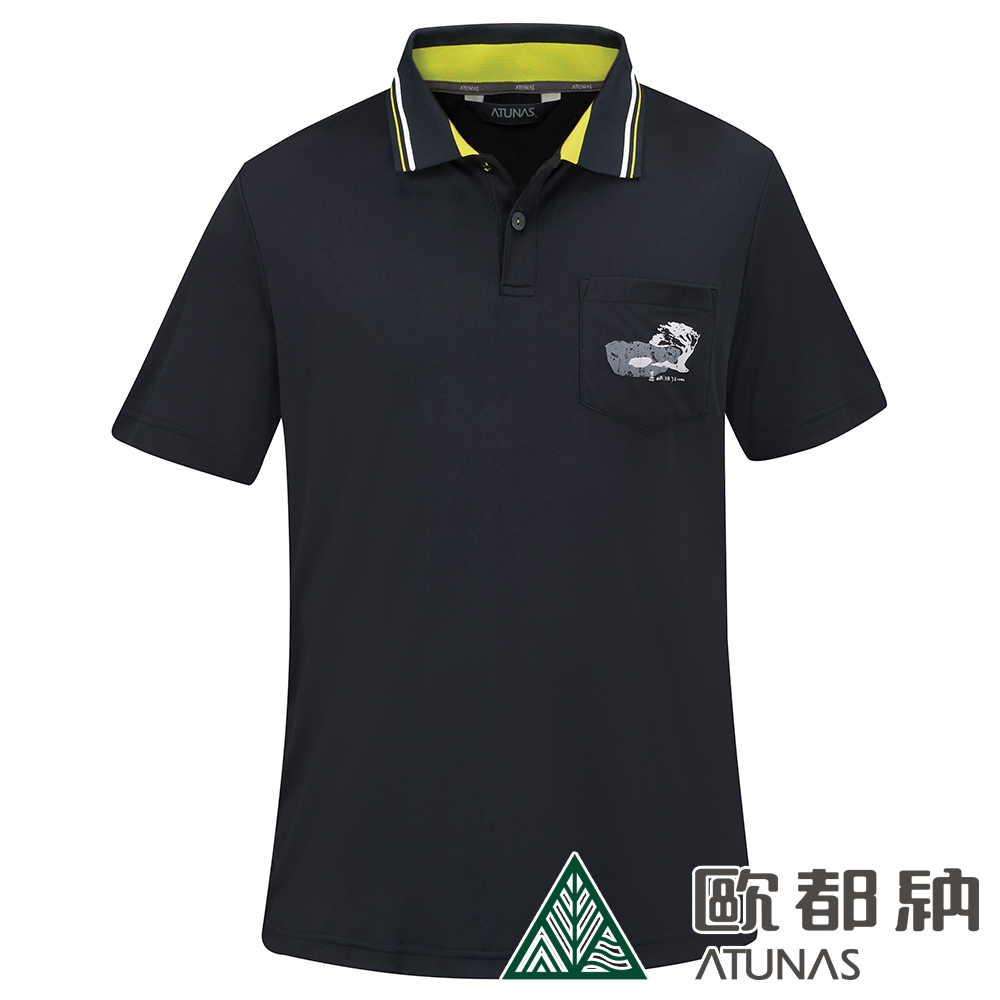 【ATUNAS 歐都納】男款台灣嘉明湖限定紀念衫短袖POLO衫A6-P1901M黑