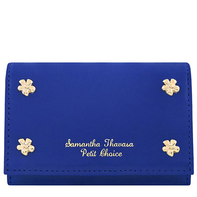 Samantha Thavasa 藍色花朵鉚釘皮革證件名片短夾