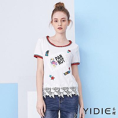 【YIDIE衣蝶】素色刺繡圖騰休閒上衣