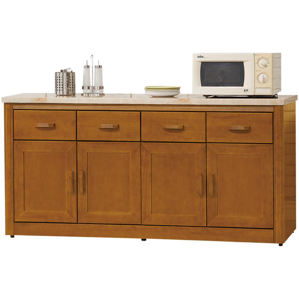 綠活居 卡利時尚5.6尺雲紋石面實木餐櫃/收納櫃-166.7x43x80.5cm免組