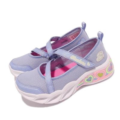 Skechers 休閒鞋 S Lights 愛心燈鞋 發光 童鞋 瑪莉珍鞋 輕量 避震 緩衝 魔鬼氈 藍紫 白 302303 LPERI