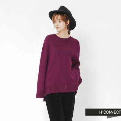 H:CONNECT 韓國品牌 女裝 -側開岔圓領針織上衣-紫(快)