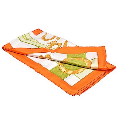 HERMES Porte Bonheur系列馬蹄圖案真絲方巾(橘色-90X90cm)