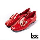 bac愛趣首爾-俏皮歪方頭軟漆皮單顆鑽釦樂福鞋平底鞋-紅