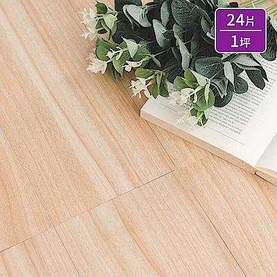 樂嫚妮 超耐磨塑膠PVC仿木紋DIY地板貼/奈米銀負離子/24片一坪-奧爾堡木紋-台灣
