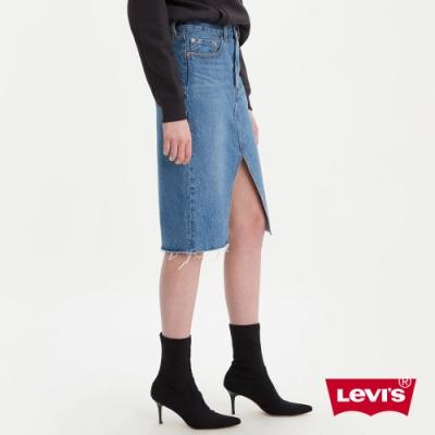 Levis 女款 排釦牛仔及膝裙 復古解構設計 不收邊