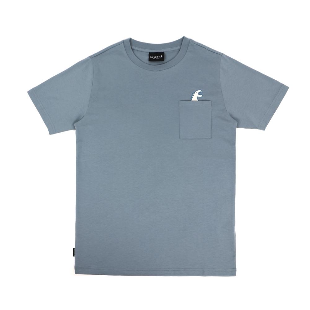 agnes b. - Sport b. 恐龍印花口袋圓領短袖上衣(男)(浅藍)