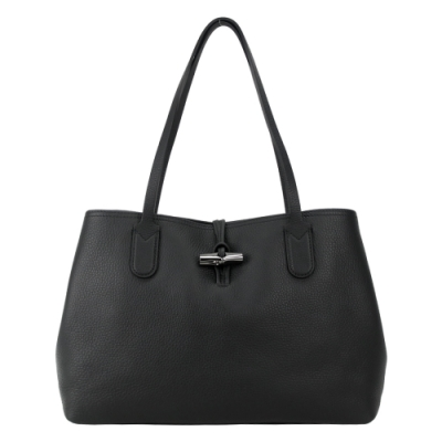 LONGCHAMP ROSEAU ESSENTIAL 竹節托特包(中/黑)