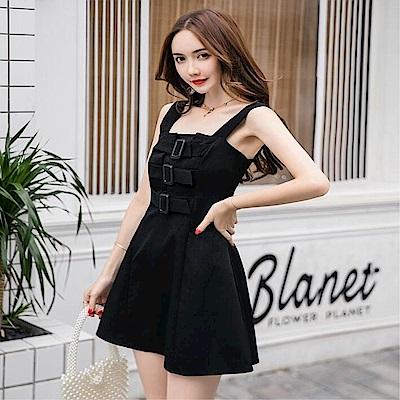 DABI 韓系性感顯瘦氣質背帶禮服裙短版無袖洋裝