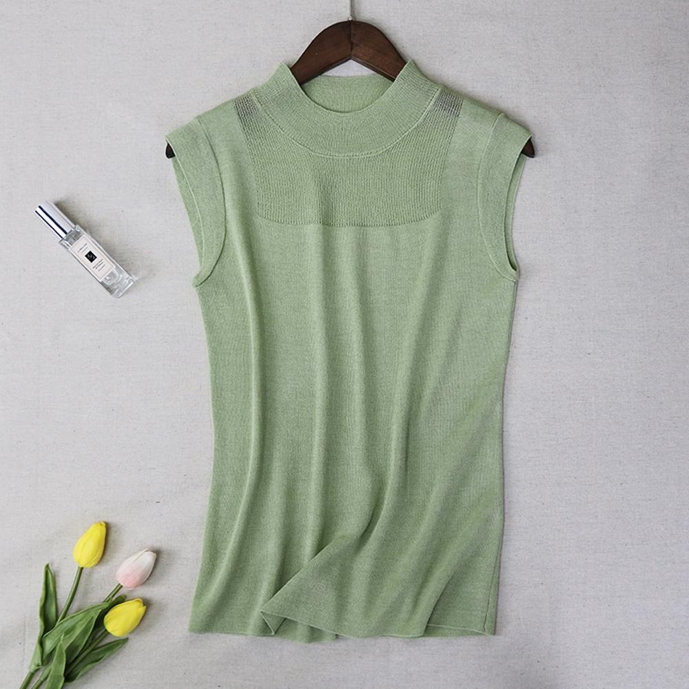 ALLK 歐楷 超彈力冰絲針織上衣 共9色(尺寸F 任選) (綠色)