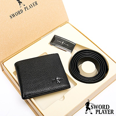 SWORD PLAYER - 莎普爾方格款真皮皮帶+10卡2照皮夾禮盒組
