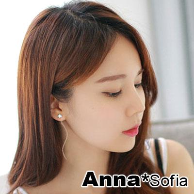 AnnaSofia 流星長曲線款 耳線耳針耳環(銀系)