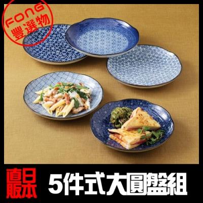 【FONG 豐選物】[西海陶器] 今樣古染 輕量雅菊五件式大圓盤組 (52635)